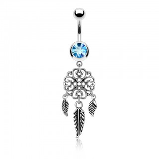 Ornamental dream catcher belly bar