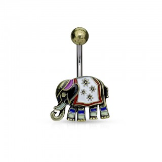 Vintage coloured belly bar with elephant figurine