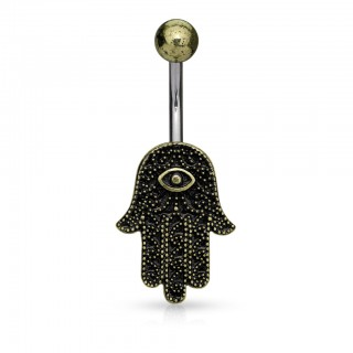Belly button piercing with antique gold Hamsa figure