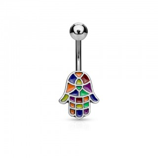 Belly button piercing with coloured hamsa