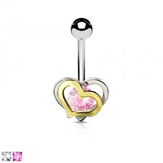 Belly bar with two hearts and coloured gem