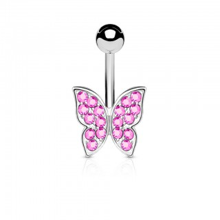 Belly button piercing with decorative jeweled butterfly