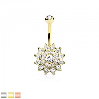 Coloured belly bar with sun and many clear crystals