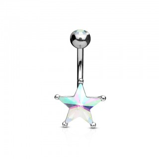 Steel belly button bar with big coloured star