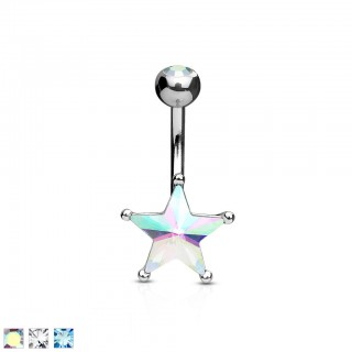 Silver belly piercing with large coloured star
