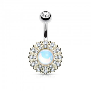 Belly bar with starburst and clear crystals - Gold