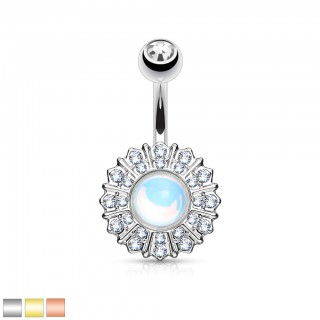 Belly bar with starburst and clear crystals
