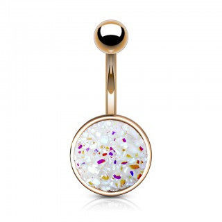 Rose gold belly bar with large druse stone disc
