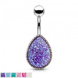 Druzy stone tear drop shaped belly bar