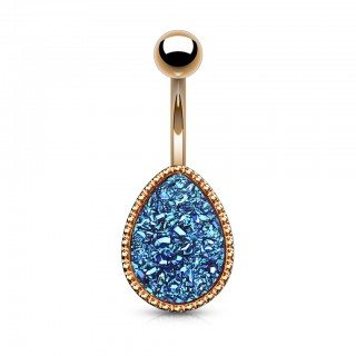 Rose gold belly bar with large druse stone oval
