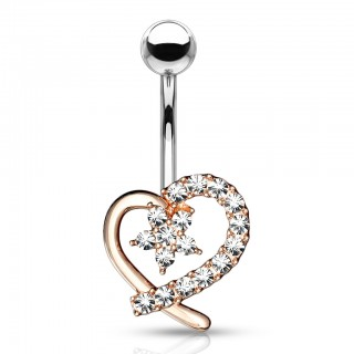 Crystal lined hollow heart belly bar with floral centre
