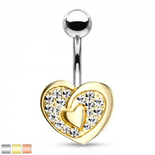 Crystal lined hollow heart belly bar with heart centre