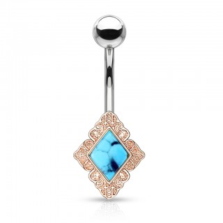 Diamond shaped filigree with turquoise stone belly bar