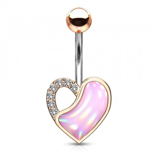 Belly bar with crystal and illuminating stone heart