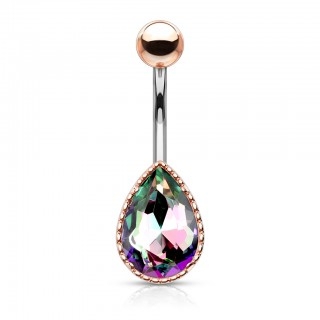 Aurora borealis effect tear drop gem belly bar