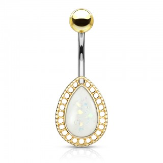Glittery opal tear drop shield belly bar