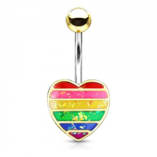 Glittery opal rainbow crystal heart belly bar
