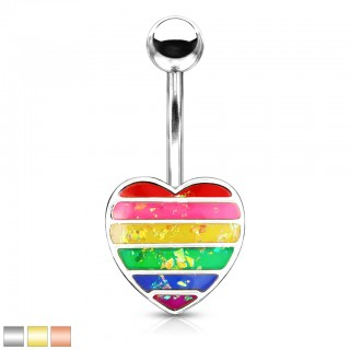 Glittery opal rainbow heart belly bar