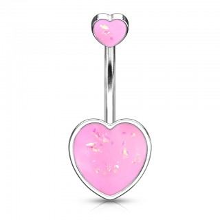 Double ended glittery opal heart belly bar