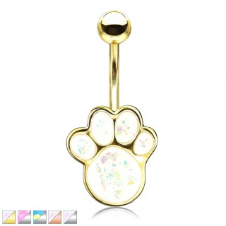 Belly bar with coloured glittery opal puppy paw