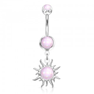 Dangling illuminating stone tribal sun belly bar
