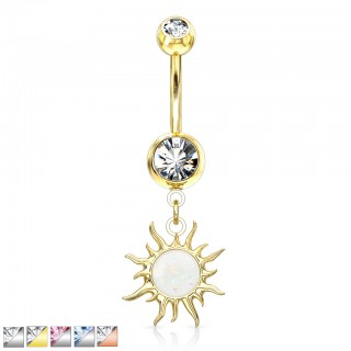 Dangling tribal sun glitter opal belly bar