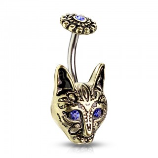 Belly bar with blue crystal eyed tribal cat