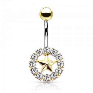 Belly bar with star in circle of coloured crystals
