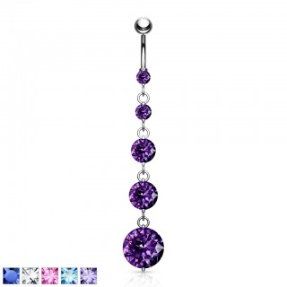 Belly button piercing with five dangling coloured diamonds