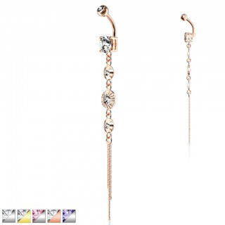 Long belly button ring with diamonds and chains