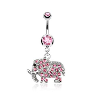 Belly bar with coloured diamond paved elephant