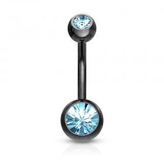Surgical steel belly ring with two diamonds