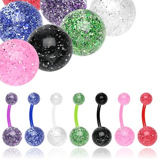 Coloured bioflex belly bar with glitter