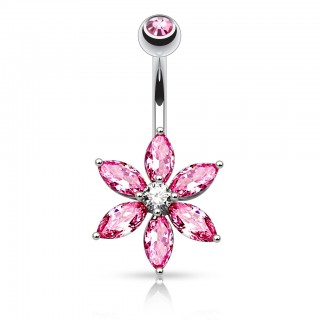 Belly button piercing with coloured crystalised petals