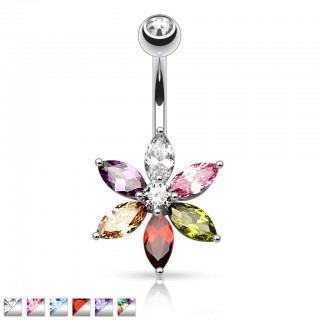 Belly bar with flower and colourful crystal petals
