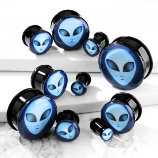 Single flared plug with inlaid alien face and o-ring
