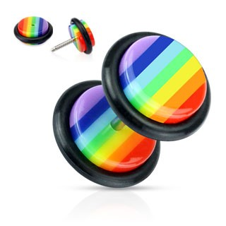 Fake plug with rainbow stripes