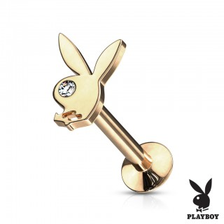 Coloured internally threaded labret with playboy bunny top
