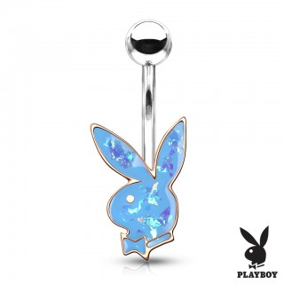 Opal glitter playboy bunny in rose gold casting belly bar