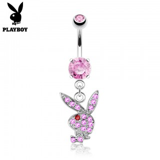 Dangling crystal Playboy bunny belly bar