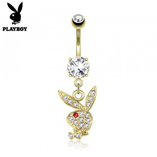 Dangling gold crystal Playboy bunny belly bar