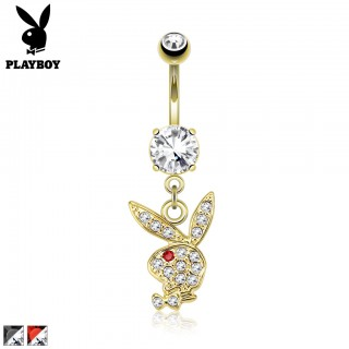Gold belly button piercing with crystal Playboy bunny dangle