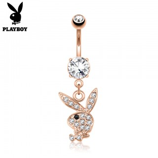 Rose gold Playboy Bunny belly bar