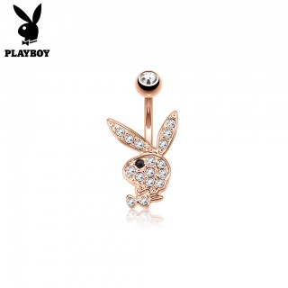 Rose gold plated belly button piercing with Playboy Bunny