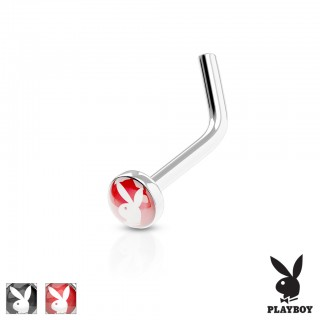 Nose stud with Playboy logo on top
