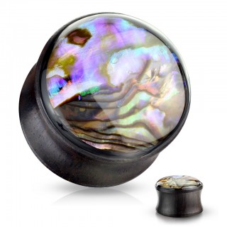 Saddle fit wooden plug with inlaid abalone front shell