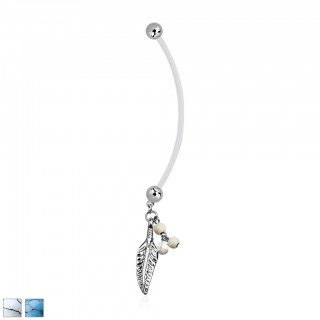 Pregnancy belly bar with feather and coloured beads