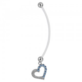 Bioflex belly bar with dangling heart paved with crystals