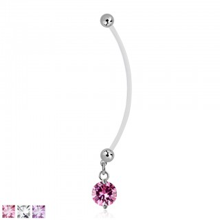 Long bioflex belly bar with dangling coloured crystal