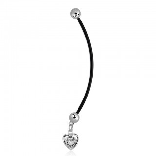 Bioflex belly ring with dangling heart with crystal